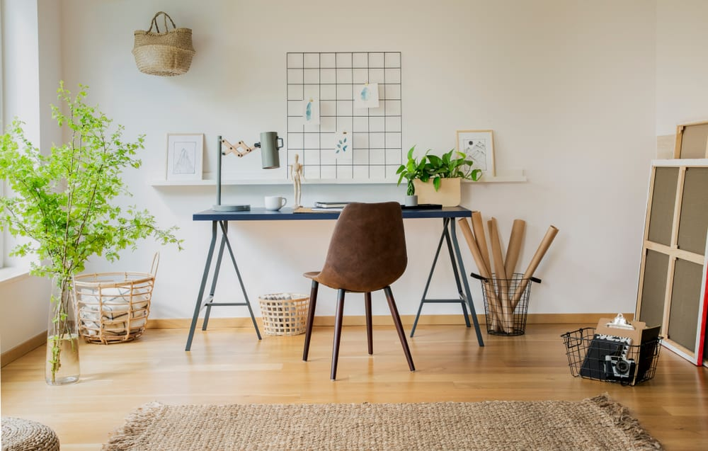 Contemporary home office with Chair on minimalist desk